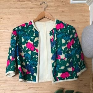 VINTAGE floral cropped shrug jacket